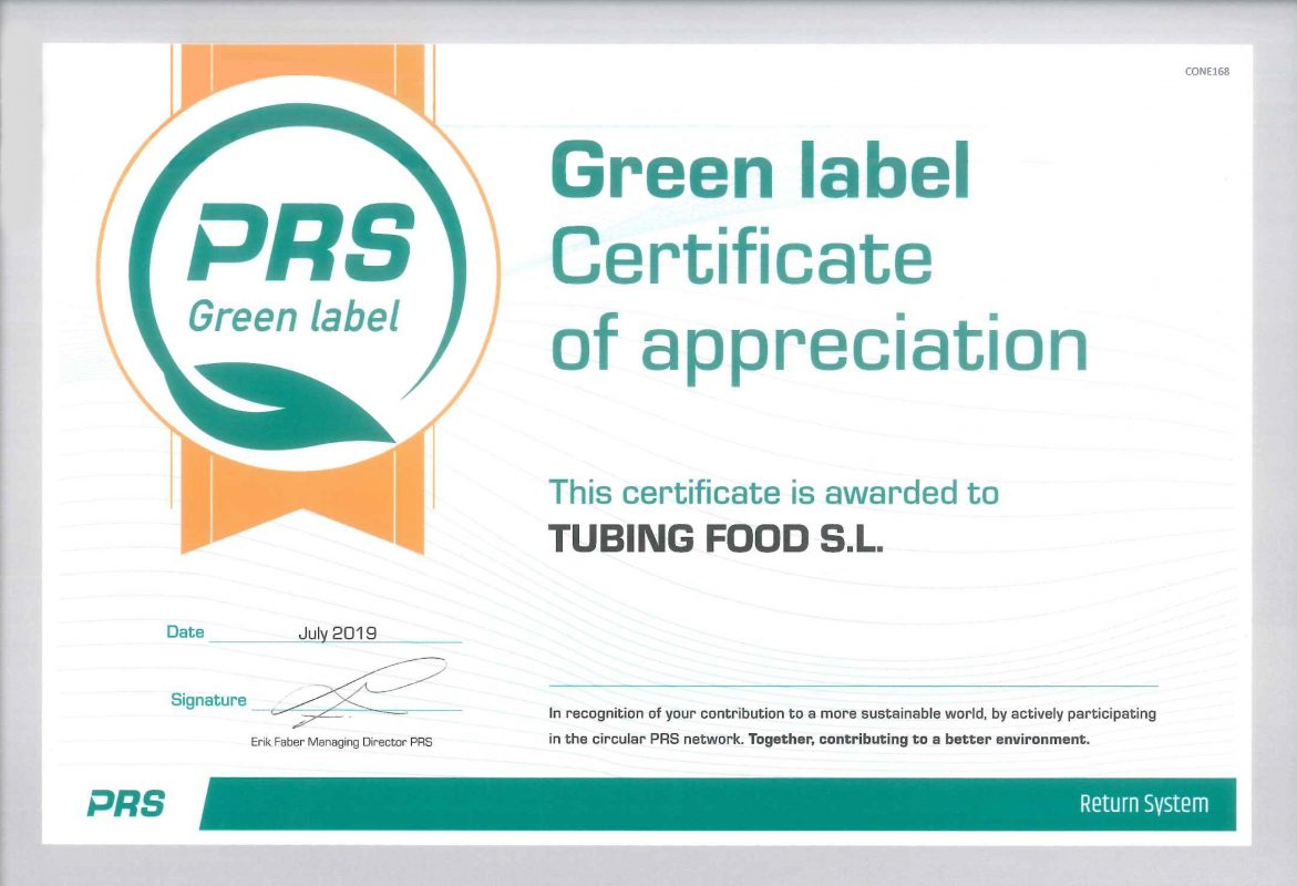 Certificado PRS Green Label de Tubing Food